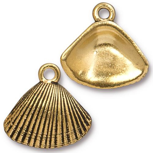 Shell Charm, Antiqued Gold Plate, 20 per Pack