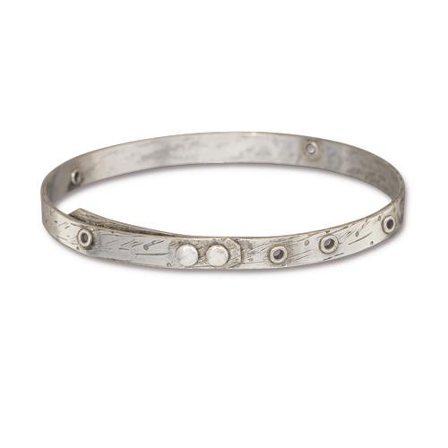 Bangle Bracelet with eyelet openings in 20 gauge, Oxidized Tin Plate, 3 per Pack