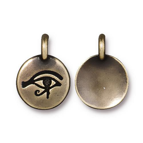 Eye of Horus Charm, Oxidized Brass Plate, 20 per Pack