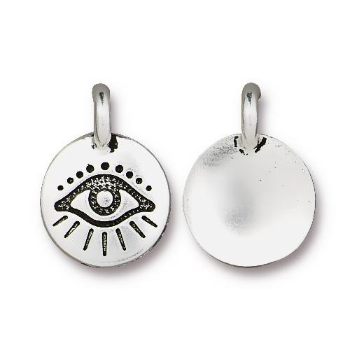 Evil Eye Charm, Antiqued Silver Plate, 20 per Pack