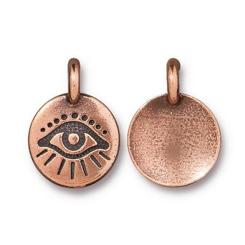 Evil Eye Charm, Antiqued Copper Plate, 20 per Pack