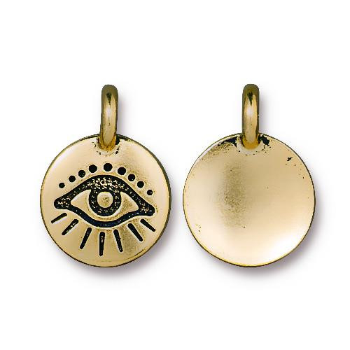 Evil Eye Charm, Antiqued Gold Plate, 20 per Pack