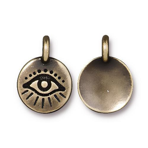 Evil Eye Charm, Oxidized Brass Plate, 20 per Pack