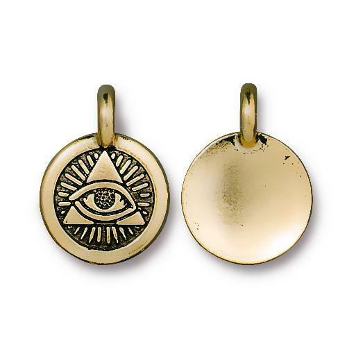 Eye of Providence Charm, Antiqued Gold Plate, 20 per Pack