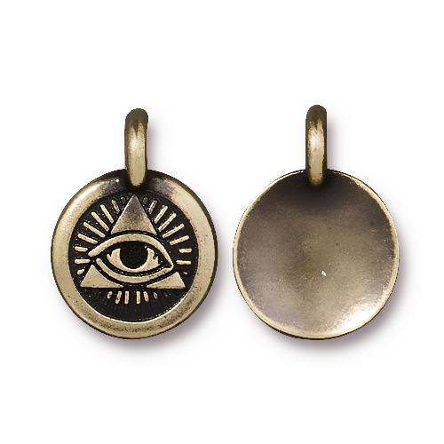 Eye of Providence Charm, Oxidized Brass Plate, 20 per Pack