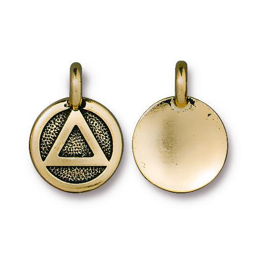 Recovery Charm, Antiqued Gold Plate, 20 per Pack