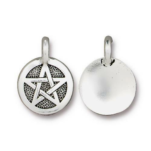 Pentagram Charm, Antiqued Silver Plate, 20 per Pack