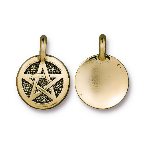 Pentagram Charm, Antiqued Gold Plate, 20 per Pack