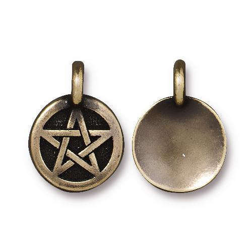 Pentagram Charm, Oxidized Brass Plate, 20 per Pack