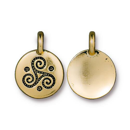 Triple Spiral Charm, Antiqued Gold Plate, 20 per Pack