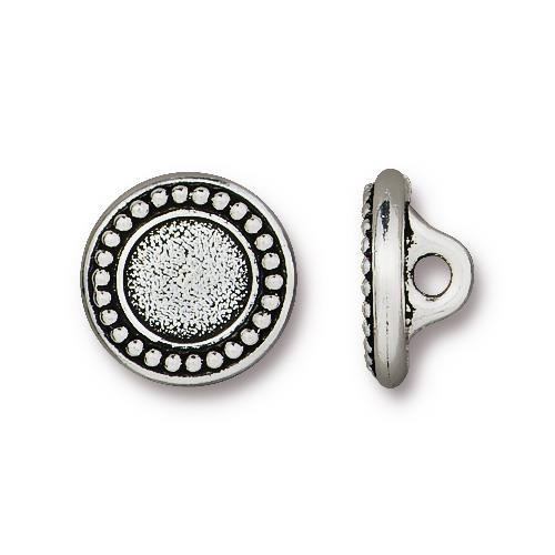 Beaded Bezel Button, Antiqued Silver Plate, 20 per Pack