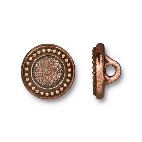Beaded Bezel Button, Antiqued Copper Plate, 20 per Pack