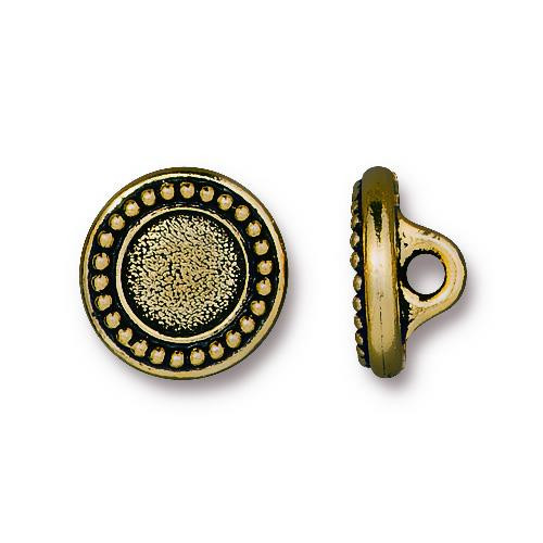 Beaded Bezel Button, Antiqued Gold Plate, 20 per Pack