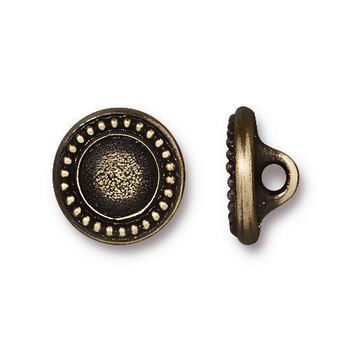 Beaded Bezel Button, Oxidized Brass Plate, 20 per Pack