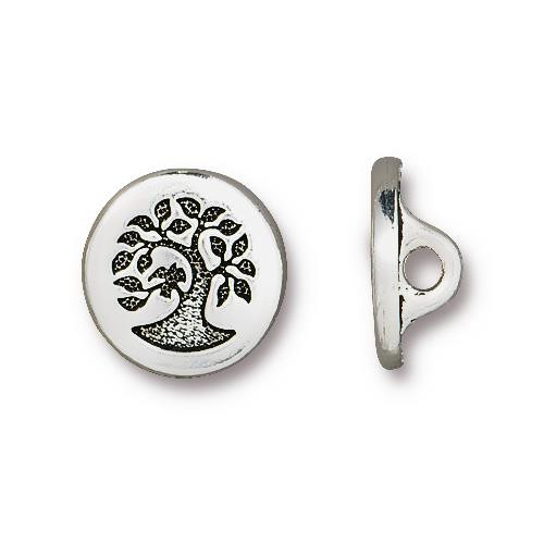 Small Bird in a Tree Button, Antiqued Silver Plate, 20 per Pack