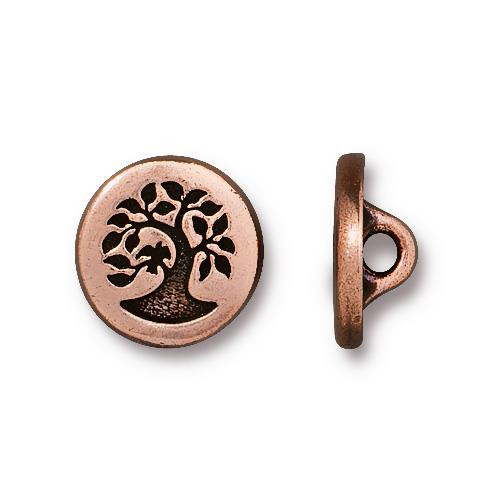Small Bird in a Tree Button, Antiqued Copper Plate, 20 per Pack