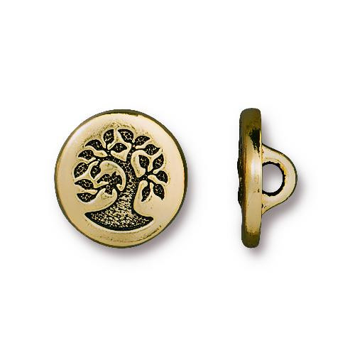Small Bird in a Tree Button, Antiqued Gold Plate, 20 per Pack