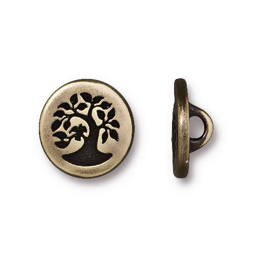 Small Bird in a Tree Button, Oxidized Brass Plate, 20 per Pack