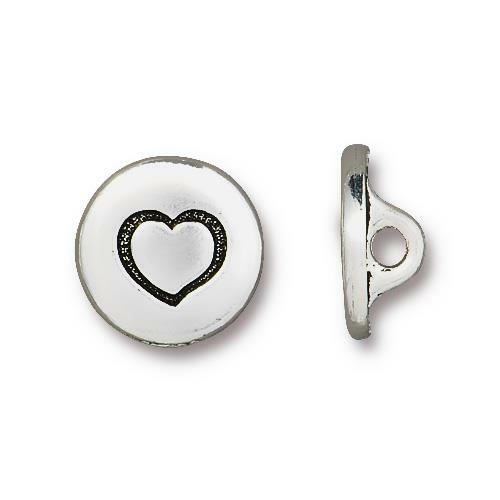 Small Heart Button, Antiqued Silver Plate, 20 per Pack