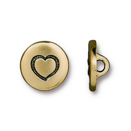 Small Heart Button, Antiqued Gold Plate, 20 per Pack