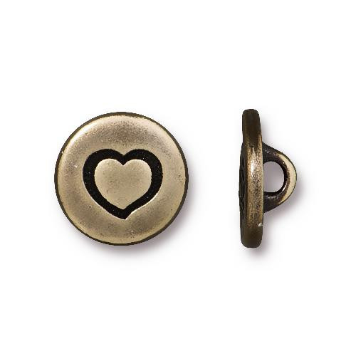 Small Heart Button, Oxidized Brass Plate, 20 per Pack