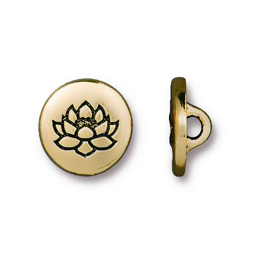 Small Lotus Button, Antiqued Gold Plate, 20 per Pack