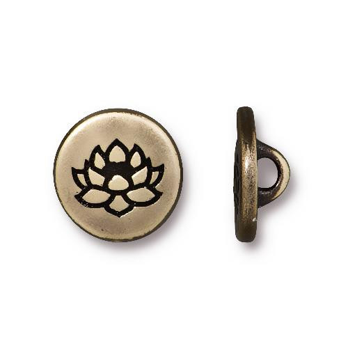 Small Lotus Button, Oxidized Brass Plate, 20 per Pack
