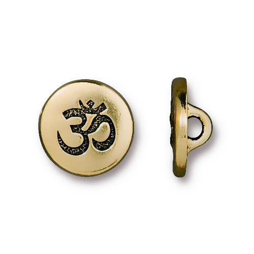 Small OM Button, Antiqued Gold Plate, 20 per Pack