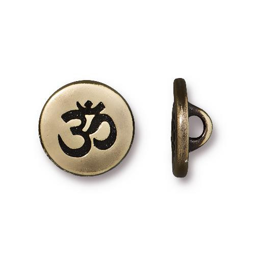 Small OM Button, Oxidized Brass Plate, 20 per Pack