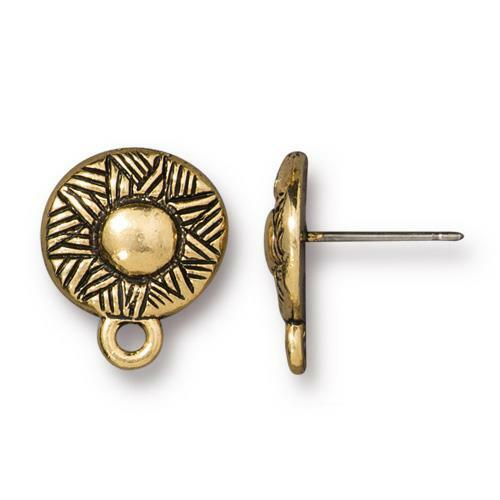 Woven Earring Post, Antiqued Gold Plate, 10 per Pack