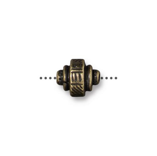 Woven Barrel Bead, Oxidized Brass Plate, 20 per Pack