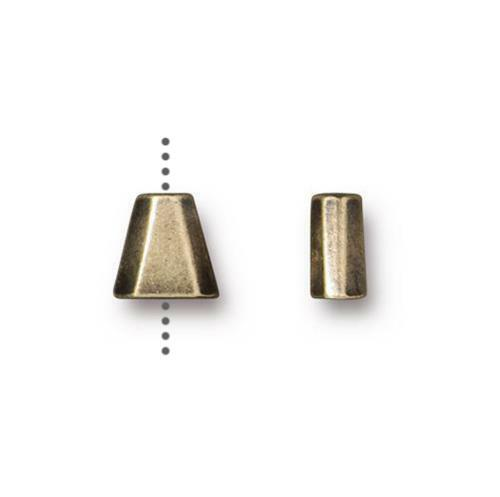Clearance: Trapezoid Bead, Oxidized Brass Plate, 20 per Pack