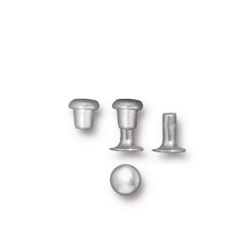 Compression Rivet Set 4mm Cap, Silver Plate, 100 per Pack