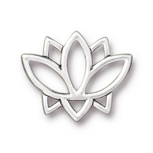 Open Lotus Link, Antiqued Silver Plate, 20 per Pack