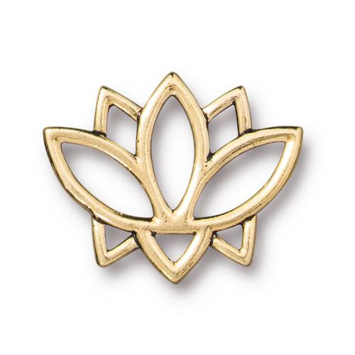 Open Lotus Link, Antiqued Gold Plate, 20 per Pack