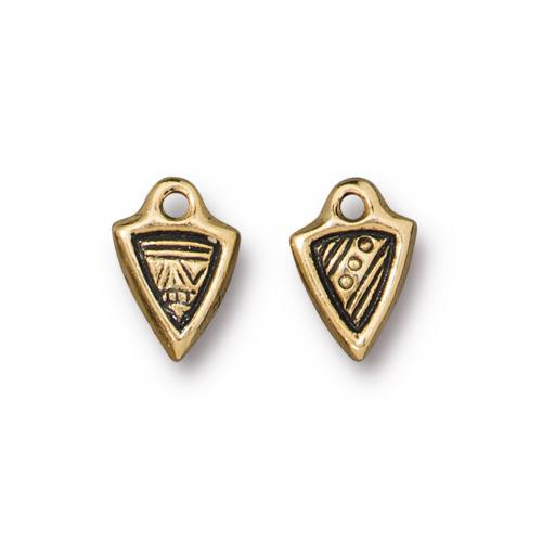 Woven Dart Charm, Antiqued Gold Plate, 20 per Pack