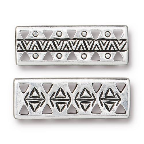 Woven Bar Link, Antiqued Silver Plate, 20 per Pack
