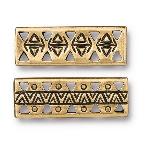 Woven Bar Link, Antiqued Gold Plate, 20 per Pack