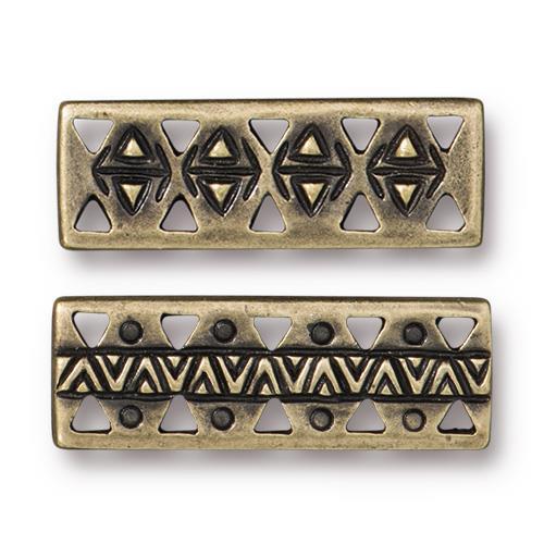 Woven Bar Link, Oxidized Brass Plate, 20 per Pack