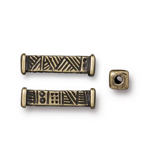 Woven Long Bead, Oxidized Brass Plate, 20 per Pack