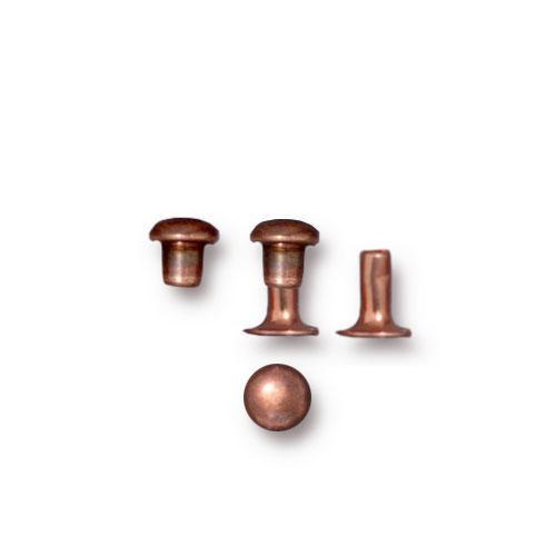 Compression Rivet Set 4mm Cap, Antiqued Copper Plate, 100 per Pack