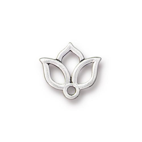 Open Lotus Charm, Antiqued Silver Plate, 20 per Pack