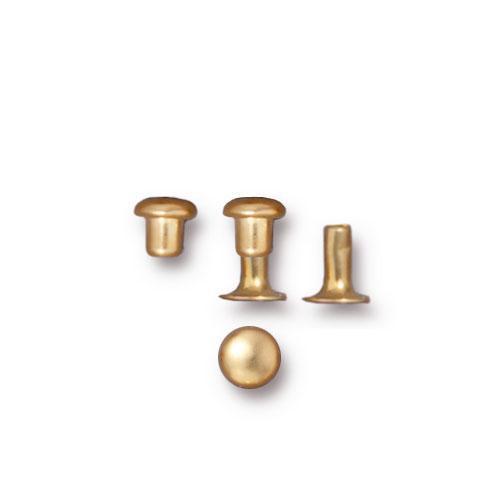 Compression Rivet Set 4mm Cap, Gold Plate, 100 per Pack