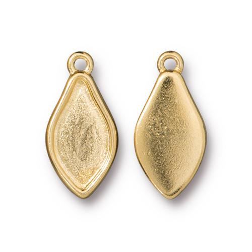 Flame Bezel Charm, Gold Plate, 20 per Pack