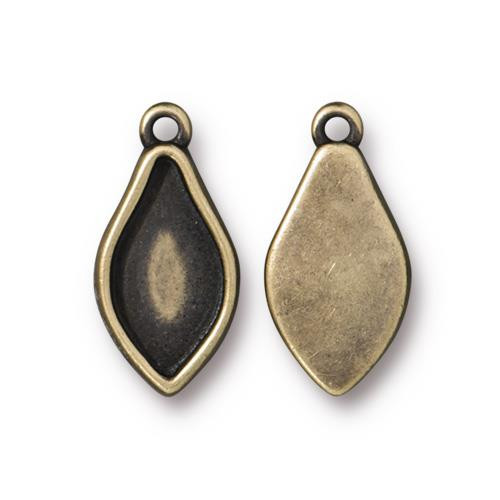 Flame Bezel Charm, Oxidized Brass Plate, 20 per Pack