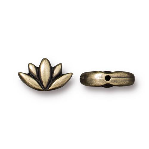 Lotus Bead, Oxidized Brass Plate, 20 per Pack