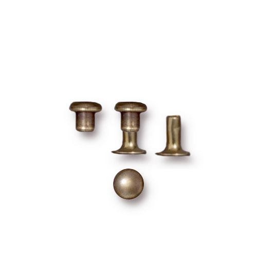 Compression Rivet Set 4mm Cap, Oxidized Brass, 100 per Pack