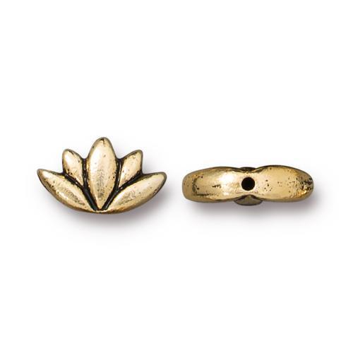 Lotus Bead, Antiqued Gold Plate, 20 per Pack