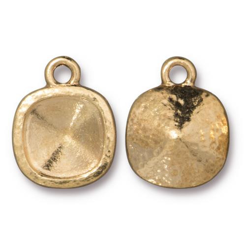 Hammered 10mm Cushion Bezel, Gold Plate, 20 per Pack