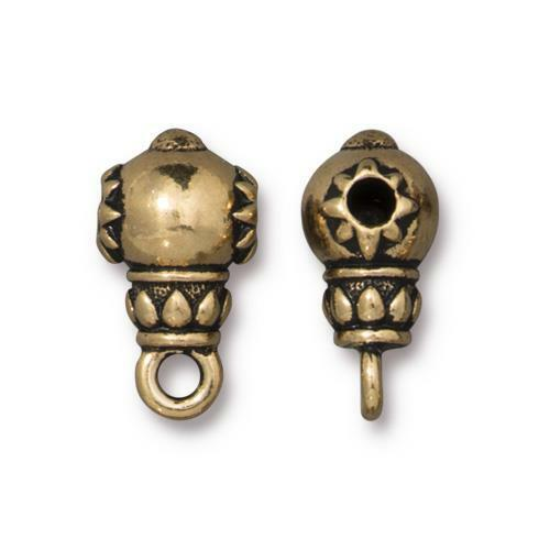 Lotus Guru Bead, Antiqued Gold Plate, 20 per Pack